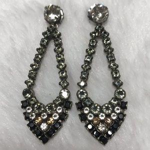 SORRELLI black grey dangle earrings silver white